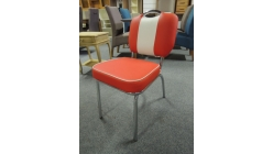 Nová červenobílá židle chrom