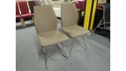 Nová 2x sv. hnědá židle kostičky