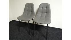 Nová 2x šedá židle knoflíky