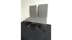 Nová 2x šedá židle koženka chrom