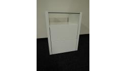 Nový bílý noční stolek vysoký lesk sklo