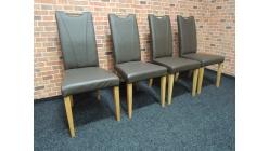 Nová 4x hnědá židle kůže madlo