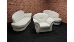 Nová stylová krémová sedačka 2x otoman + křeslo