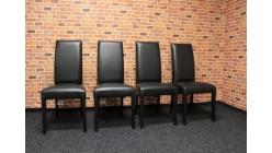 Nová 4x černá židle nohy hnědé dřevo