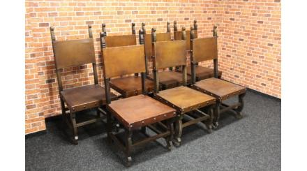 7x stylová židle kůže HRAD