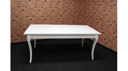 Nový bílý stylový jídelní stůl rozkládací vysoký lesk, kroucené nohy