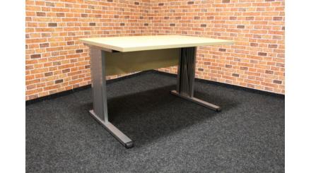 Nový hnědostříbrný PC stůl