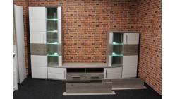 Nová hnědobílá obývací stěna patina oblá