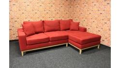 Červená rohová sedačka rozkládací