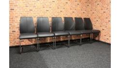 6x černá židle kůže chrom