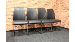 4x černá židle kůže chrom