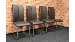 Nová 4x hnědá prošívaná židle