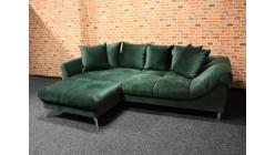 Nová zelená semišová rohová sedačka s polštáři