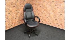 Nové černočervené koženkové kancelářské křeslo