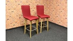 Nová 2x červená barová židle nohy masiv dub