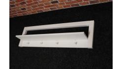 Nová bílá stylová police dřevo na zeď s věšáky