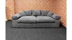 Nové šedé big sofa manšestr s polštáři