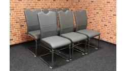 Nová 6x šedá židle chrom madlo