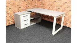 Nový rohový psací stůl šedobílý