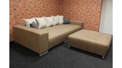 Nové velké světle hnědé big sofa s taburetkou