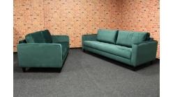 Nová zelená sedačka 3+2 semiš