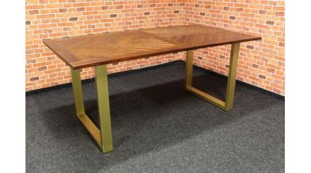 Nový stylový hnědozlatý jídelní stůl CALATRIA