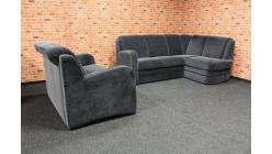 Tmavě šedá rohová sedačka s gaučem AMICA