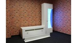 Nová luxusní bílá obývací stěna lesk barevné osvětlení