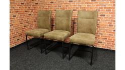 Nová 3x hnědá židle černé nohy