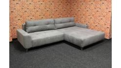 Nová šedá rohová sedačka BAHIRA dlouhé polštáře