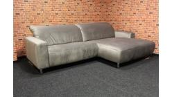 Nová hnědostříbrná relax rohová sedačka semiš