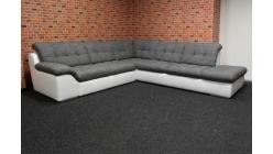 Nová velká rohová sedačka šedobílá rozkládací BRUCE