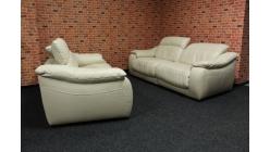 Nová péřová relax sedačka kůže krémová 2+2