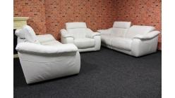 Bílá péřová kožená sedačka 2+2+1