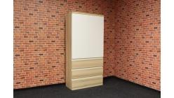 Nová hnědobílá skříň s šuplíky