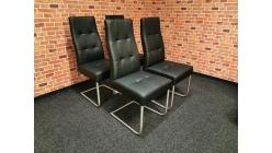 Nová 4x černá židle koženka prošívaná