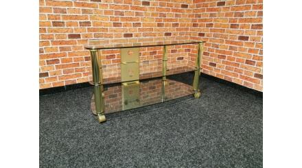 Nový TV stolek sklo zlatý