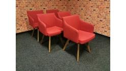 Nová 5x červená židle křesílko
