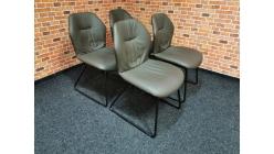 Nová 4x hnědá židle kůže houpací