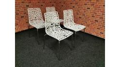 Nová 4x židle GROOVE bílý lesk