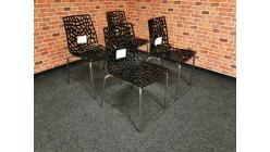 Nová 4x židle GROOVE černý lesk