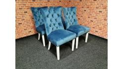 Nová 4x stylová tyrkys židle semiš s knoflíky