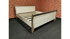 Nová bílohnědá stylová manželská postel dřevo