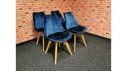 Nová 4x stylová tyrkys židle semiš