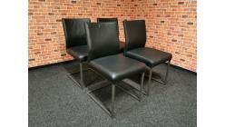 Nová 4x židle HÜLSTA černá kůže