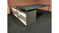 Nový luxusní šedohnědý rohový psací stůl