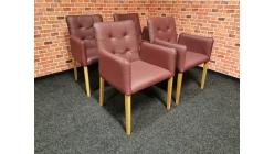Nové 4x značková židle-křesílko ANTONIA kůže bordeaux