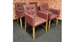 Nová 4x značková židle bordeaux kůže