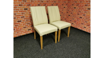 Nová 2x krémová židle CLAUDIA kůže