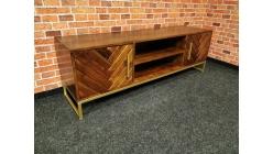 Nový stylový TV stolek CALATRIA hnědozlatý